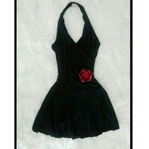 Black halter top dress